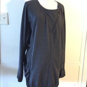 BCBG Max Azria Oversized Gray Sweatshirt Top Sz L